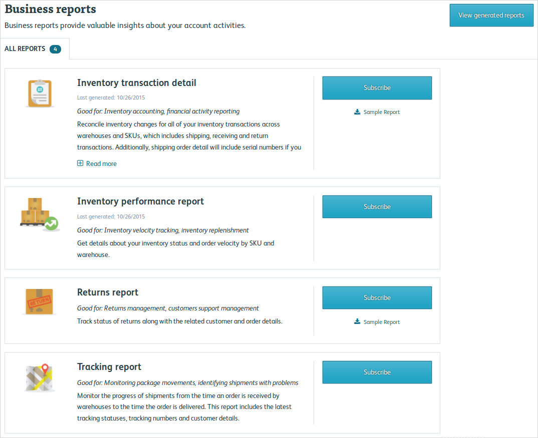 Available Business Reports